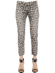 Monocrom Leopard Printed Cotton Poplin Pants Grey Brown