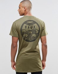 Friend Or Faux Longline T Shirt Cyclone Green