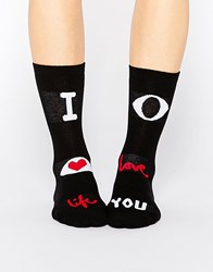 Monki I Heart Life Socks Black