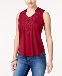 Self Esteem Belle Du Jour Juniors' Crochet Bib High Low Tank Top Red Plum