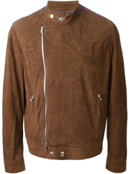 Brunello Cucinelli Perforated Leather Jacket Brown