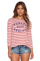 Sundry Parlez Vous Boat Neck Long Sleeve Red