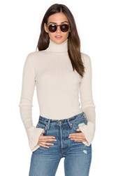 Autumn Cashmere X Revolve Ribbed Turtleneck Bell Sleeve Sweater Cream