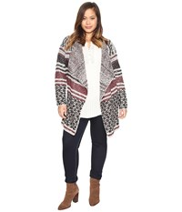 Lucky Brand Plus Size Mixed Stripe Cardigan Multi Women's Sweater