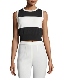 Catherine Catherine Malandrino Milano Sleeveless Striped Crop Top Black Fresno