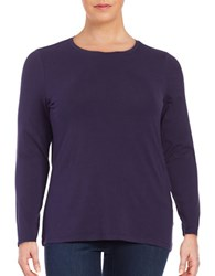 Lord And Taylor Plus Knit Crewneck Shirt Evening Blue