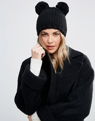 Helene Berman Double Pom Pom Knitted Beanie Hat Solid Black