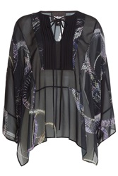 Just Cavalli Printed Sheer Tunic Blouse Multicolor
