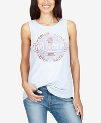 Lucky Brand Graphic Tank Top Light Blue