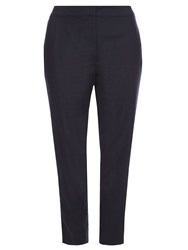 Evans Navy Linen Blend Tapered Trousers