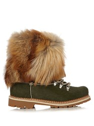 Montelliana 600 Fur Trimmed Calf Hair Apres Ski Boots Green