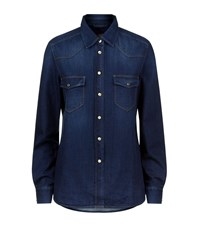 7 For All Mankind Western Denim Shirt Female Blue