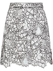 Self Portrait Floral A Line Skirt White