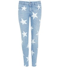 Stella Mccartney Printed Denim Skinny Jeans Blue