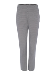 Oui Trousers With All Over Pattern Blue