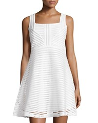Romeo And Juliet Couture Mesh Stripe Sleeveless Fit And Flare Dress Ivory