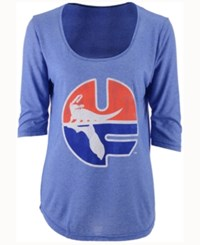 Retro Brand Women's Florida Gators Scoop 3 4 Sleeve T Shirt Royalblue