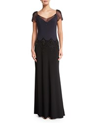 Mignon Embellished Colorblock Gown Graphite Black
