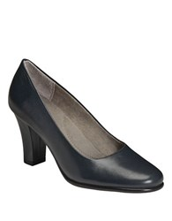 Aerosoles Dolled Up Leather Pumps Dark Blue Leather