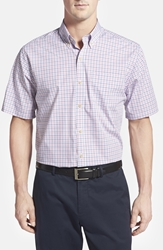 Cutter And Buck Cutter And Buck 'White Rock' Check Print Short Sleeve Sport Shirt Cerise Red