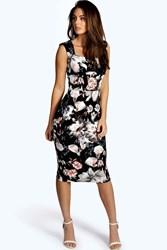 Boohoo Floral Print Sweetheart Midi Bodycon Dress Black