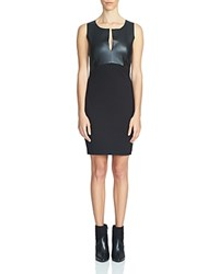1.State Faux Leather Bodice Bodycon Dress Rich Black