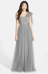 Women's Jenny Yoo 'Annabelle' Convertible Tulle Column Dress Sterling Grey