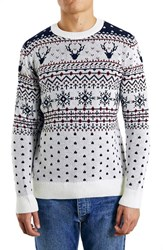 Men's Topman Holiday Reindeer Jacquard Crewneck Sweater