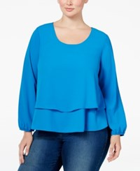 Ing Plus Size Tiered Top Directoire Blue