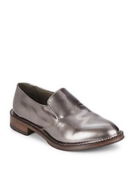 Brunello Cucinelli Metallic Leather Loafers Shiny Grey