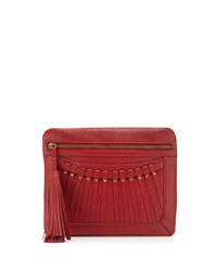 Cynthia Vincent Bitten Leather Tassel Clutch Bag Red