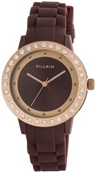 Pilgrim Rose Gold Plated With Brown Watch Brown