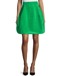 Oscar De La Renta Silk A Line Bubble Skirt Avocado