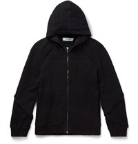 Chalayan Knitted Cotton Blend Zip Up Hoodie Black