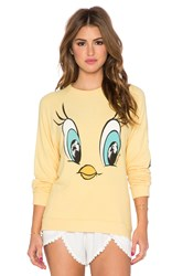 Lauren Moshi Lovie Tweety Face Boyfriend Sweatshirt Yellow