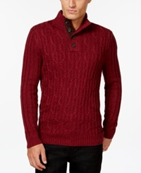 Tasso Elba Chunk Button Mock Neck Sweater Only At Macy's Holiday Red