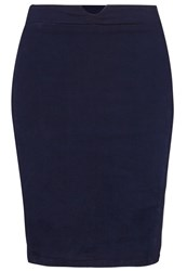 Lost Ink Plus Pencil Skirt Indigo Blue Dark Blue Denim