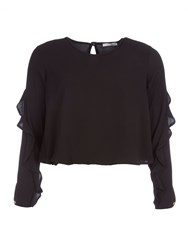 Relish Top With Frilled Sleeves Black