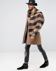 Asos Blanket Scarf In Check With Dogstooth Reverse Side Camel Beige