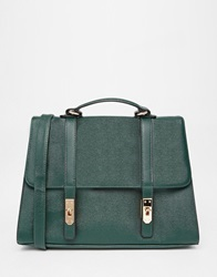 Asos Smart Satchel Bag With Metal Flap Detail Khaki