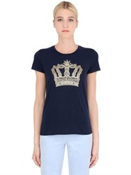 Juicy Couture Crown Crystal Logo Cotton Jersey T Shirt