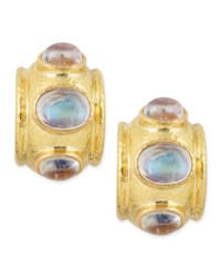 Moonstone Cabochon Clip Post Earrings Yellow Elizabeth Locke