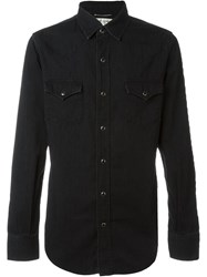 Saint Laurent Chest Pocket Denim Shirt Black