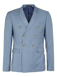 Topman Light Blue Double Breasted Suit Jacket