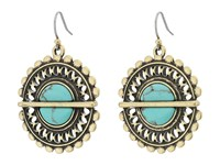 Lucky Brand Turquoise Openwork Drop Earrings Gold Earring