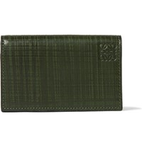 Loewe Embossed Leather Bifold Cardholder Dark Green