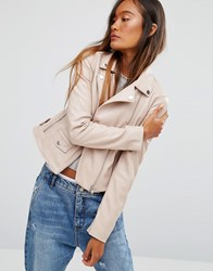 Pull And Bear Pullandbear Pu Biker Jacket Nude Pink