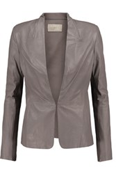 Halston Heritage Ribbed Knit Paneled Leather Jacket Gray