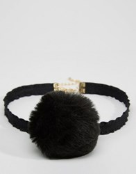 Asos Limited Edition Pom Pom Choker Necklace Black