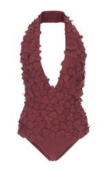 Lenny Appliqued One Piece Swimsuit Burgundy